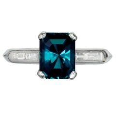 Peter Suchy GIA Certified 3.15 Carat Green Sapphire Diamond Platinum Ring