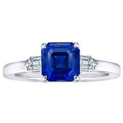 2.83 Carat Emerald Cut Blue Sapphire and Diamond Ring