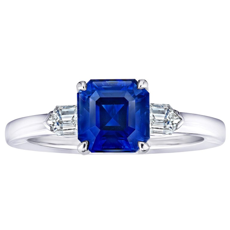 2.83 Carat Emerald Cut Blue Sapphire and Diamond Ring For Sale