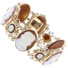 14 Karat Yellow Gold Carved Cameo Bracelet