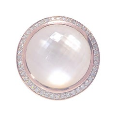 Mother of Pearl & Clear Quartz .54 CTW Diamond Rose Gold 14K Designer Ring