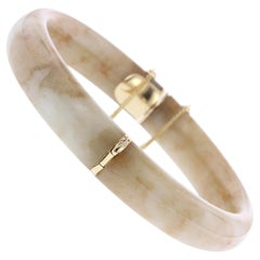 Ming's Hawaii 14 Karat Yellow Gold Jade Bangle