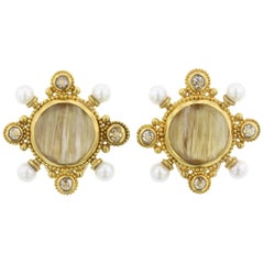22 Karat Yellow Gold Rutilated Quartz, Cultured Pearl and Diamond Earrings