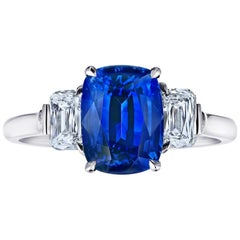 3.88 Carat Cushion Blue Sapphire and Diamond Ring