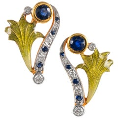 Sapphire, Enamel and Diamond Earrings, Signed Masriera