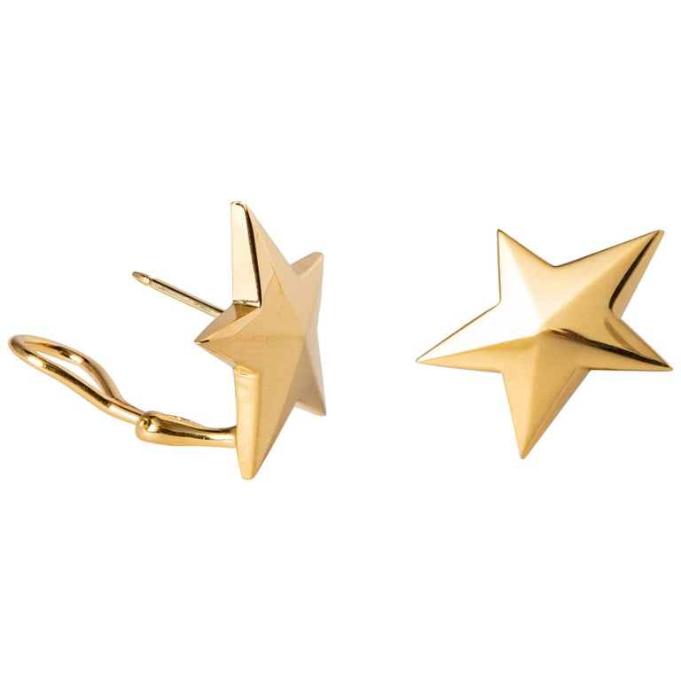 Classic Tiffany & Co. Gold Star Earrings For Sale