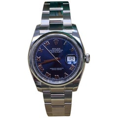 Rolex Datejust 116200 Blue Roman Dial Stainless Box and Papers, 2019