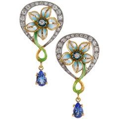 Masriera Sapphire, Enamel and Sapphire Earrings