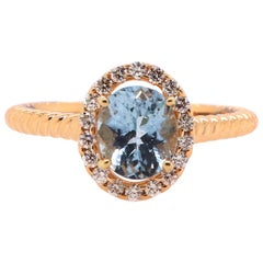 1.15 Carat Aquamarine and Diamond Ring