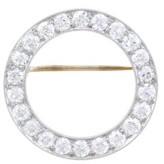 J.E. Caldwell Art Deco Platinum and Diamond Circle Pin