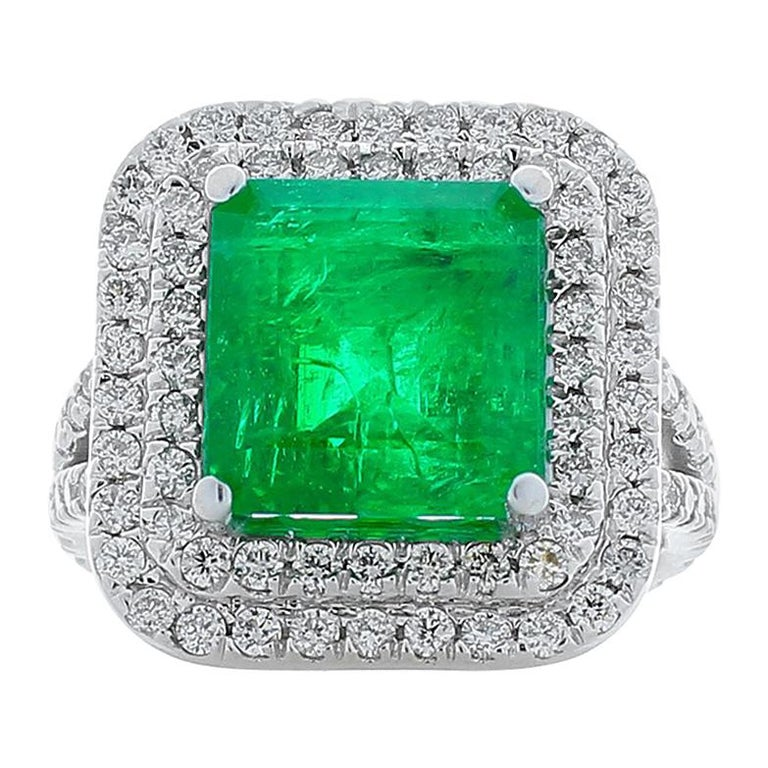 5.30 Carat Emerald Cut Emerald and Diamond Cocktail Ring in 18 Karat White Gold For Sale