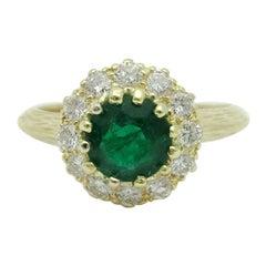 Midcentury Emerald and Diamond Cluster Ring 18 Karat Yellow Gold