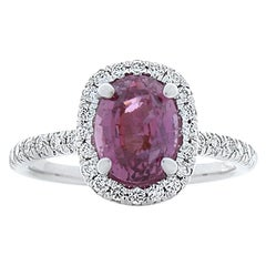 2.35 Carat Oval Pink Sapphire and Diamond Cocktail Ring in 18 Karat White Gold