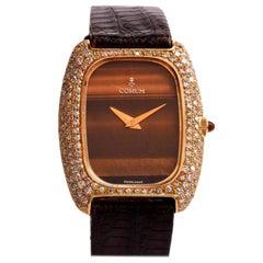 Corum Yellow Gold Diamond Tiger Eye Dial Mechanical Wristwatch