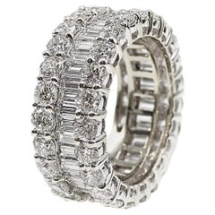 Baguette and Round Brilliant Cut Diamond White Gold Eternity Band