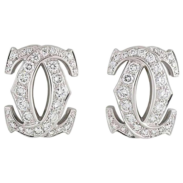 Cartier C de Cartier Diamond Earrings For Sale