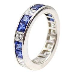 Diamond Sapphire Platinum Eternity Band
