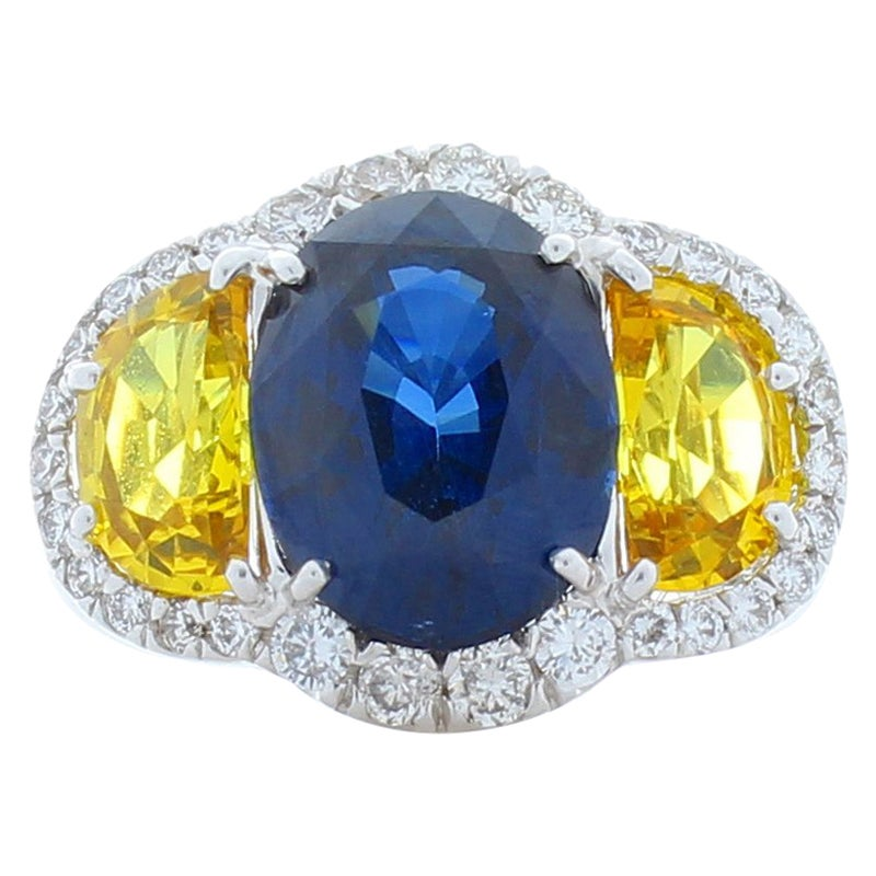 GIA Certified 4.75 Carat Oval Blue Sapphire,Yellow Sapphire & Diamond Gold Ring