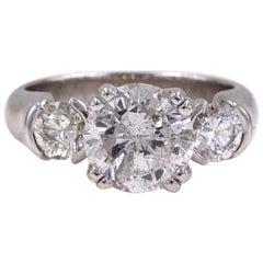 Three-Stone Diamond Engagement Ring Round 2.93 Carat 18 Karat White Gold