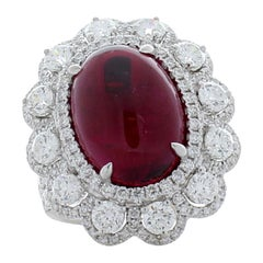 7.34 Carat Oval Cabochon Rubellite and Diamond Cocktail Ring in 18 Karat Gold