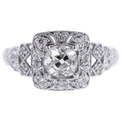 Vintage Style 14 Karat White Gold Diamond Engagement Ring