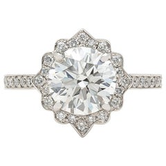 GIA 2.01 Carat H/VS1 Diamond Platinum Engagement Ring