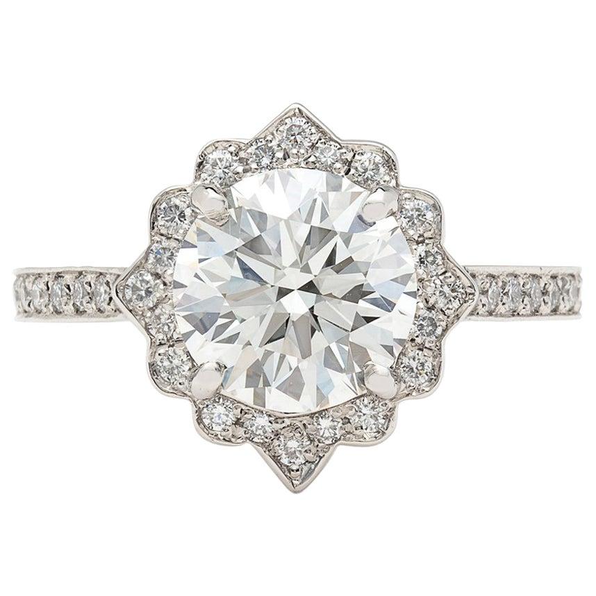 GIA 2.01 Carat H/VS1 Diamond Platinum Engagement Ring