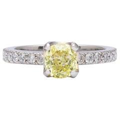GIA 1.07 Carat Fancy Light Greenish Yellow Cushion Diamond Ring