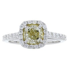 1.14 Carat Cushion Cut Fancy Yellow Diamond Cocktail Ring in 14 Karat White Gold