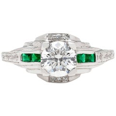 0.90 Carat F/SI1 Diamond and Emerald Engagement Ring