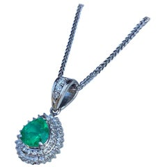Beautiful 2 Carat Intense Green Emerald and Diamond Platinum Pendant on Chain