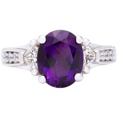 2.43 Carat Amethyst and Diamond Platinum Ring