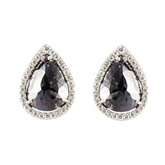 7.21 Carat Total Pear Shape Black Diamond Fancy Stud Earrings in 14 Karat Gold