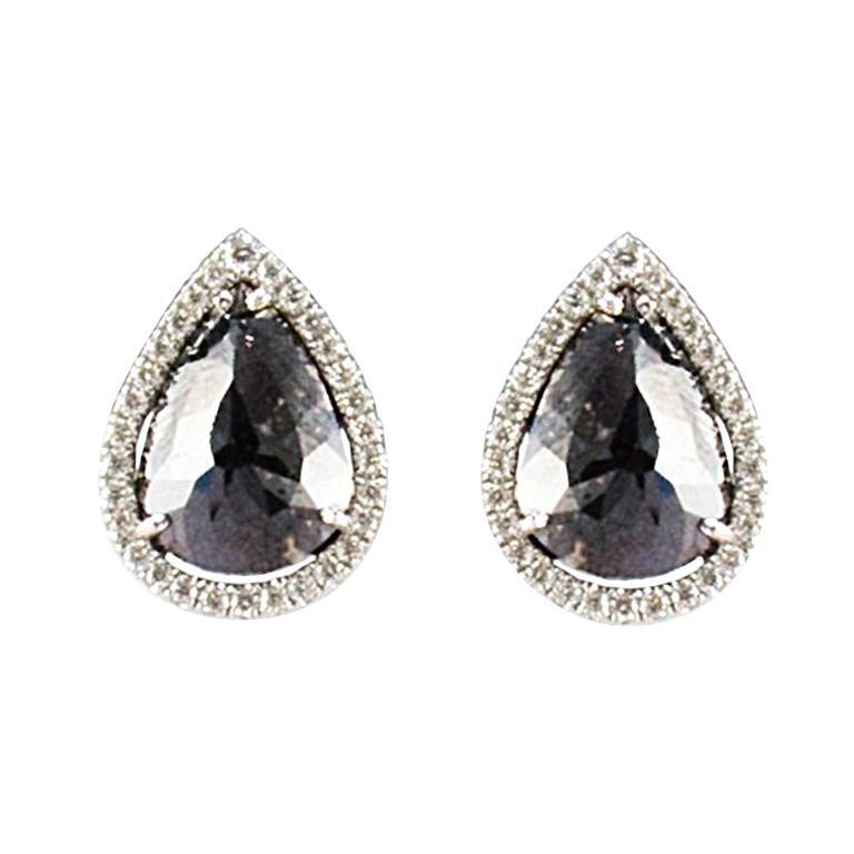 7 21 Carat Total Pear Shape Black Diamond Fancy Stud Earrings In 14 Karat Gold