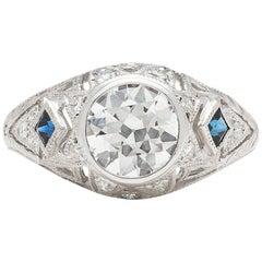 GIA 1.25 carat I/SI1 Diamond Sapphire Engagement Ring