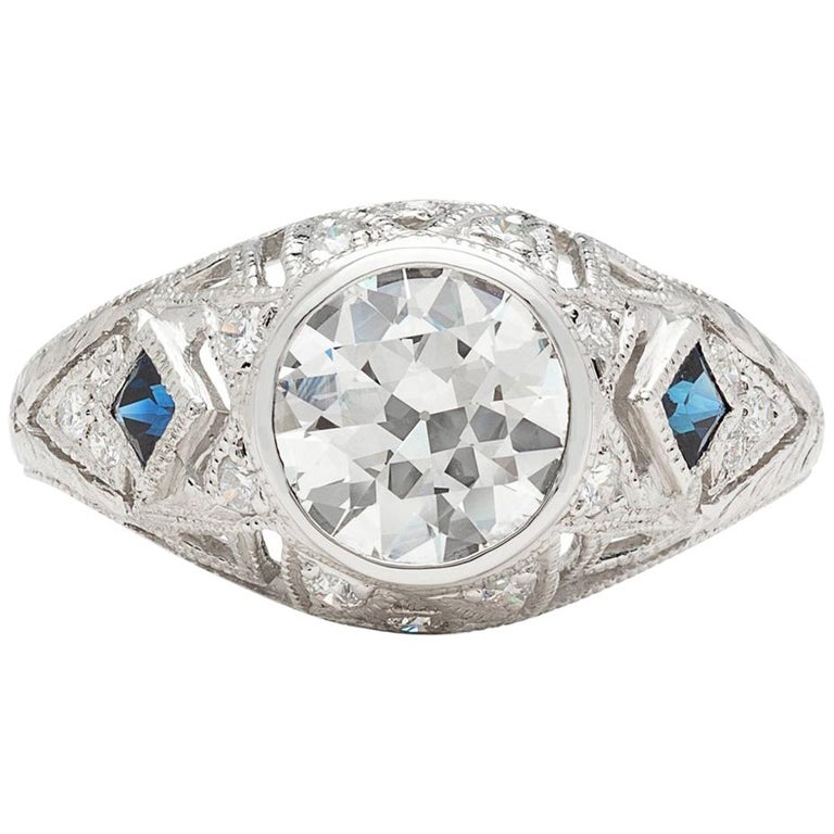 GIA 1.25 carat I/SI1 Diamond Sapphire Engagement Ring For Sale