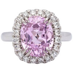 5.53 Carat Kunzite and Diamond Ring