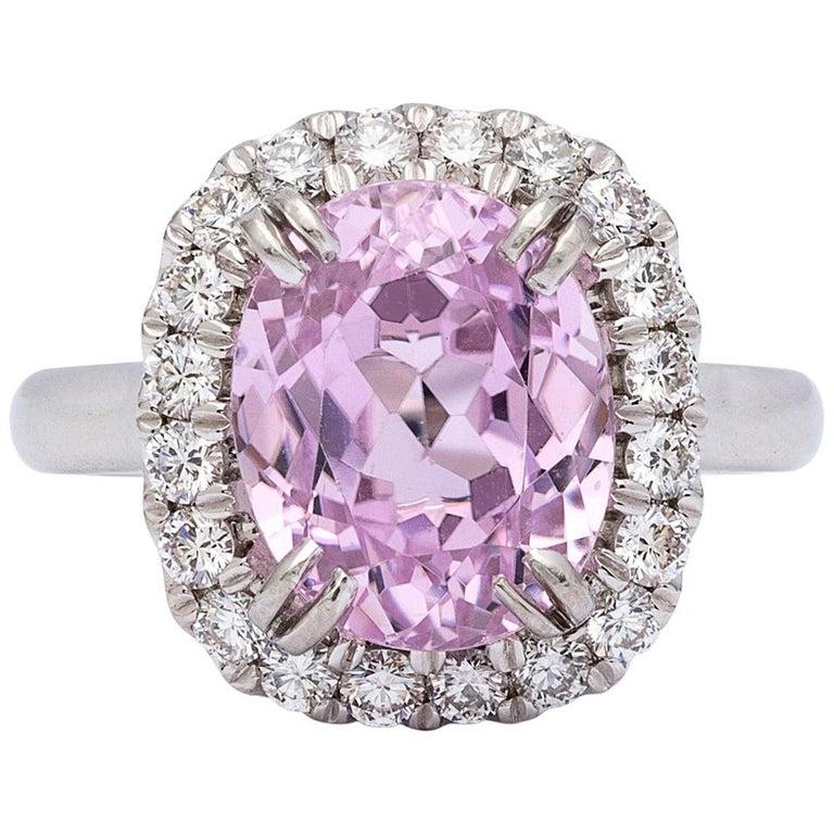 5.53 Carat Kunzite and Diamond Ring For Sale