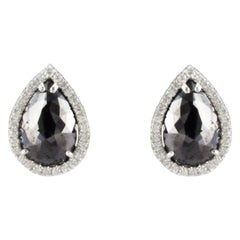 8.15 Carat Total Pear Shape Black Diamond Stud Earrings in 14 Karat White Gold