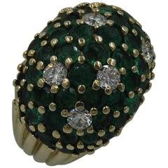 5.3 Carat Emerald Diamond 14 Karat Gold Cocktail Ring Midcentury Bombe