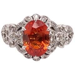 Orange Sapphire Diamond White Gold Ring