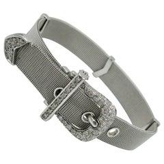 Diamond 18 Karat White Gold Buckle Bracelet Italian Adjustable