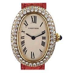 Cartier Baignoire 1920 2-Row Diamond Bezel 18 Karat Yellow Gold Watch