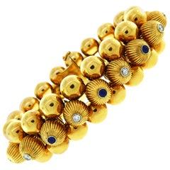 Ventrella Retro Yellow Gold Bracelet Diamond Sapphire, 1950s
