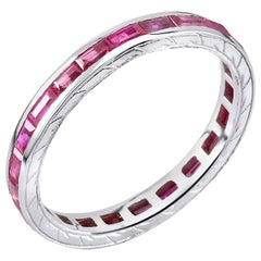Baguette Ruby Eternity Gold Engraved Band Weighing 1.65 Carat