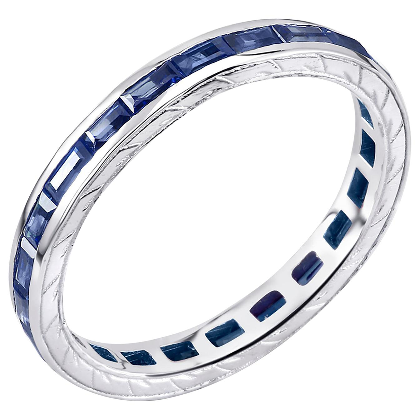 Eighteen Karat Gold Baguette Sapphire Eternity Engraved Band Weighing 1.65 Carat