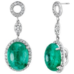 Cabochon Emerald and Diamond Drop White Gold Earrings Weighing 14.21 Carat
