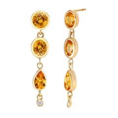Yellow Sapphire Diamond Drop Earrings Weighing 6.33 Carat