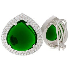 Emilio Jewelry 28.00 Carat Cabochon Emerald Diamond Earrings Set in Platinum