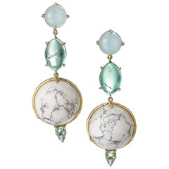 Daria de Koning Muzo Emerald, Aquamarine, White Howlite, Tourmaline Earrings